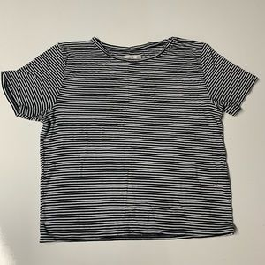 ABERCROMBIE & FITCH Black Striped Layering Tee